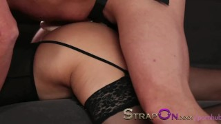 StrapOn Romantic double penetration love making with strapon dildo  female orgasms sex-toy natural strapon dp babe oral-sex kissing dildo female-friendly strap-on sensual orgasms czech small-tits romantic