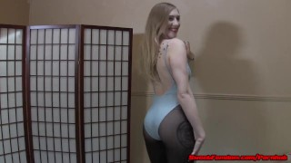 Laci Star gets cum on her pantyhose and helps you jerk off FEMDOM  cum on feet femdom upskirt cei pantyhose kink foot fetish petite tights nylons leotard sweetfemdom foot worship cum eating dirty feet jerk off instruction