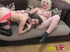 FakeAgentUK Hardcore threesome with 2 dirty hot British girls