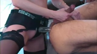 Pegging Bling! Canada's ShandaFay Fucks A Man With Her New Strapon!  strap on ass fuck big tits femdom strapon lingerie dildo canadian cumshot fetish toys milf shandafay kink heels stockings canadian milf femdom pegging lick cum huge tits