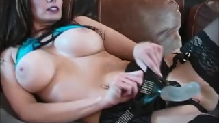 Pegging Bling! Canada's ShandaFay Fucks A Man With Her New Strapon!  strap on ass fuck lick cum big tits femdom strapon lingerie dildo canadian cumshot fetish toys milf shandafay kink heels stockings canadian milf femdom pegging huge tits