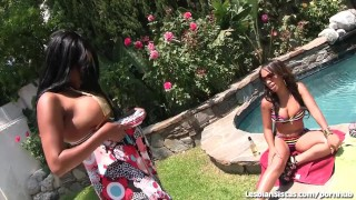 Ebony Lesbians Poolside Pussy Play  big natural tits lesbian kissing big tits clit rubbing face sitting outdoor female orgasm ebony black public 69 lesbian pussy licking eating pussy natural tits girl on girl bubble butt lesbiansistas