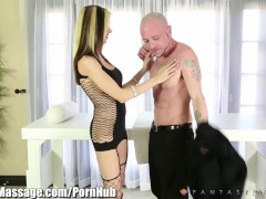 Milking Table horny Masseuse Milking Cock with her Deepthroat