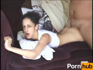 Brunette babe fucked on the white sofa - Title on the code