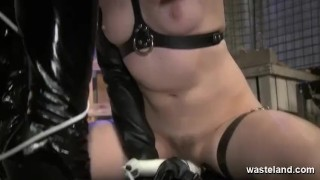 Femdom in black latex outfit and her sex slave  tied up dominatrix bdsm dildo femdom domination kink kinky rough sex and submission screaming wasteland orgasms spanking