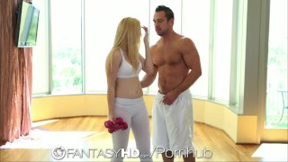 Preview 1 of FantasyHD Blonde teen gets workout when she is fucked