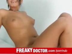 Hot brunette Carmen Blue vagina spreader cervix check-up