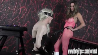 Femdom spanks and tortures naughty blonde sissy with huge strapon cock  ass spanking masturbation strapon bdsm femdom amateur torture fetish domination toys sissy hardcore thetgirlpass bondage adult toys