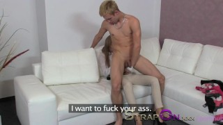 StrapOn Gina Devine fuck a 18 year old guy in the ass dildo ass pegging sensual natural oral sex female friendly orgasms strapon strap on small tits sex toy romantic kissing female orgasms anal sex czech