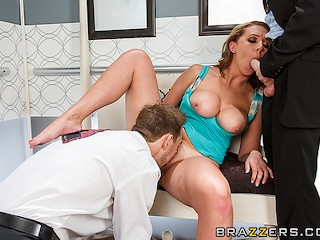 Brazzers - Brooke Wylde takes two dicks in the elevator