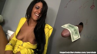 Lyla Finds A Big Cock Sticking Through A Wall  big cock masturbation blowjob gloryhole cumshot big dick hugecockgloryholes hardcore handjob latina fingering deepthroat glory hole hidden camera natural tits gagging spit