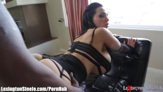 LexingtonSteele Amy Anderssen BBC Spit-Roast  big tits high heels lingerie bbc big cock lexingtonsteele face sitting black canadian blowjob pornstar big dick interracial 3some threesome stockings doggystyle fake tits huge tits spit roast