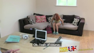 Preview 2 of FakeAgentUK Petite Spanish pornstar gets huge facial in on casting couch