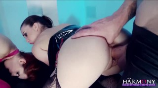 Harmony Vision Two horny sluts in latex getting fucked  ass fuck chinese balls ass fucking ass french blowjob small tits fetish piercing kink kinky anal sex 3some latex anal masturbation harmonyvision facial adult toys fake tits