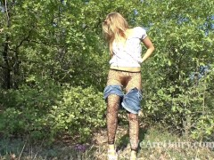 Hairy woman Riana S enjoys her walk outside