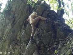 Nacked Rock climbing