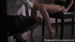 How to Dress up Aurelika for Strapon Sex  garter belt foot licking high heels office lady strapon straplessdildo feeldoe cunnilingus pantyhose kink realdoe foot fetish stockings pussy eating adult toys girl on girl