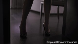How to Dress up Aurelika for Strapon Sex  garter belt foot licking high heels strapon straplessdildo feeldoe cunnilingus pantyhose kink foot fetish stockings pussy eating office lady adult toys girl on girl realdoe