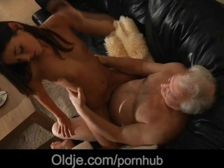 Lucky old man is spicy fucked by his caring young maid
