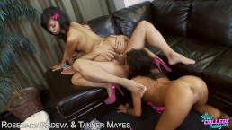 College babes Rosemary Radeva and Tanner Mayers sharing dick