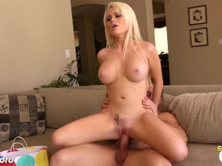 Busty blonde Alexis Ford swallow cum