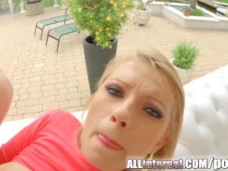 AllInternal Leggy blonde pushes cum from her ass