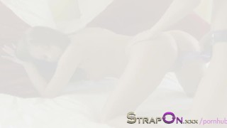 StrapOn Long purple strapon dildo squeezed into her pussy  strap on natural strapon kissing dildo small tits sensual orgasms brunette czech babes romantic natural tits adult toys girl on girl oral sex sex toy female friendly