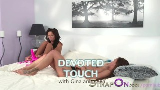 StrapOn Gina Devine knows how to use a strapon with lesbians  strap on natural strapon kissing dildo sensual orgasms brunette czech babes romantic girl on girl oral sex sex toy small tits female friendly