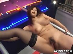 Asian dancer masturbates on stage