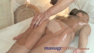 Preview 2 of Massage Rooms Petite brunette gets her tight hole fucked by younger stud