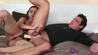 Strapon He gets his ass fucked by Rachel Evans  sex toy ass fuck oral sex strap on pegging strapon natural tits kissing dildo adult toys czech romantic sensual orgasms brunette female friendly female orgasms