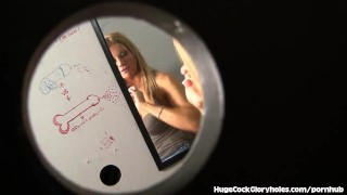 Slutty Blonde Meets Bathroom Gloryhole  big black cock big cock blowjob blonde gloryhole cum in mouth big dick handjob interracial slut glory hole hugecockgloryholes hidden camera shaved pussy masturbation