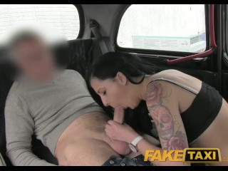 FakeTaxi Black haired tattooed young British women fucking on backseat