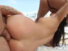 Ass Traffic Jeny's holes take it from two guys and she eats cum