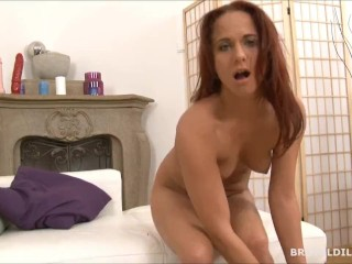 Babe shoving two big brutal dildos up her asshole in HD - Title on the code