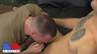 Sergeant Miles fucks Civilian Reid  sucking dick oral hot fit cumshot gay rimming cock sucking str8 uniform latino muscle tattoos men sergeant miles all american