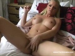 Sexy blonde babe warms up her tight bold pussy for her boss