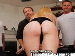 Blonde MILF Slut Skank Bukkake Blow Bang!