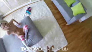 Preview 4 of HD - POVD Petite blonde Sammie Daniels swallows POV style