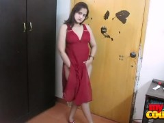 indian amateur wife sonia stripping naked in sexy red nighty dancing