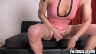 Crossdresser slut wanks big cock as hot femdom Strapon Jane fucks her ass  crossdresser big cock femdom hardcore masturbate amateur strapon latex cumshot tranny wank mistress ass fuck fetish adult toys straponjane