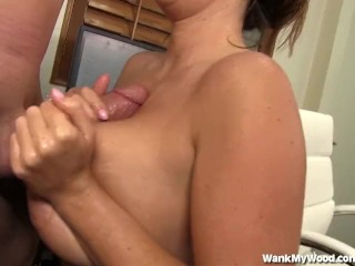 Office Handjob Leads To Big Tits Covered In Cum