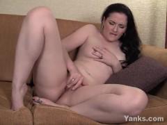 Pierced Brunette Milf Caroline Masturbating