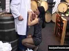 Teen vixen suck and fuck an old cock