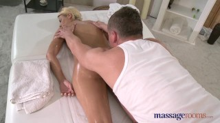 Preview 6 of Massage Rooms Blonde with plump bum enjoys big fat cock in 69 position