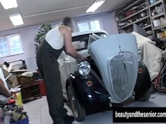 Sexy teen gets fucked by an old dude in garage
