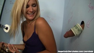 Hot Blonde Blows In Public Bathroom  big cock hugecockgloryholes deep throat hidden camera handjob blowjob blonde shaved pussy gagging gloryhole babe glory hole public bathroom public masturbation small tits natural tits facial