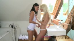 Kissing HD Sexy young teen girls kiss and cuddle in the bathroom