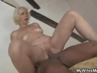 Granny rides her daughter's man cock as she gone