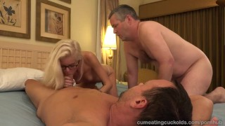 Halle Von and Her Husband Take Turns Sucking Dick  masturbation cuckold cleanup babe creampie cuckold masturbate blonde hardcore bisexual cumeatingcuckolds 3some sex shaved face fuck cuckold humiliation